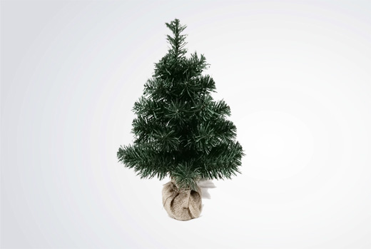 Mini green tree with burlap stand 30cm